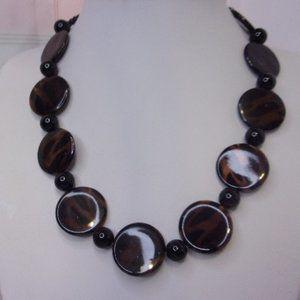 Faux Tortoise Brown Black Flat Bead Necklace